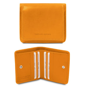Front And Open View Of The Yellow Leather Wallet With Coin Pocket