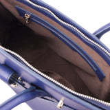Internal Zipper Pocket View Of The Dark Blue Leather Womens Handbag