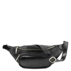 Front View Of The Black Leather Bum Bag
