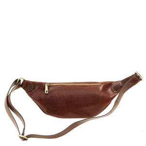 Rear View Of The Brown Leather Bum Bag