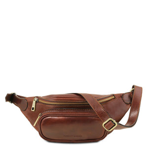 Front View Of The Brown Leather Bum Bag