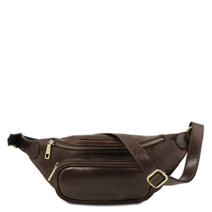 Front View Of The Dark Brown Leather Bum Bag