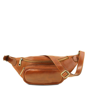 Front View Of The Honey Leather Bum Bag