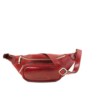 Front View Of The Red Leather Bum Bag