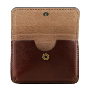 Opening Feature View Of The Brown Leather Card Holder