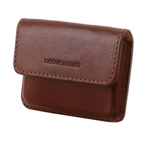 Angled View Of The Brown Leather Card Holder