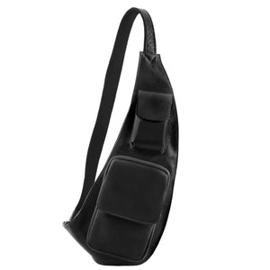 Front On View Of The Black Leather Crossover Bag
