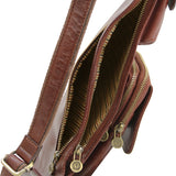 Side Zip View Of The Brown Leather Crossover Bag