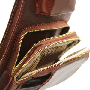 Compartment View Of The Brown Leather Crossover Bag