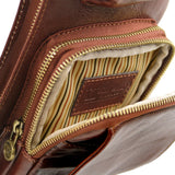 Internal Pocket View Of The Brown Leather Crossover Bag