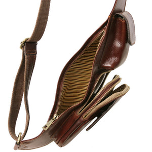 Internal Side View Of The Brown Leather Crossover Bag