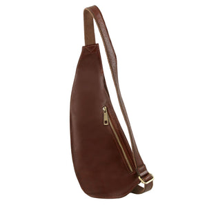 Angled View Of The Brown Leather Crossover Bag