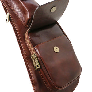 Pocket View Of The Brown Leather Crossover Bag