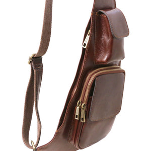 Featured Pockets View Of The Brown Leather Crossover Bag