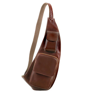Front On View Of The Brown Leather Crossover Bag