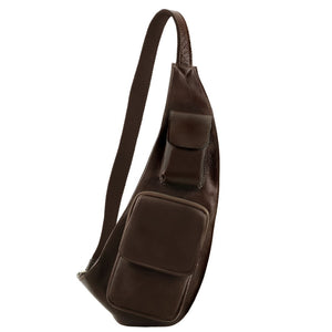 Front On View Of The Dark Brown Leather Crossover Bag