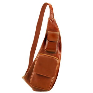Front On View Of The Honey Leather Crossover Bag