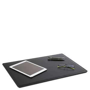 In Use View Of The Black Leather Desk Pad