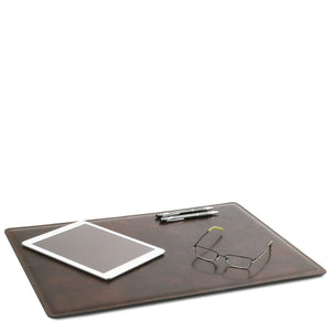 In Use View Of The Dark Brown Leather Desk Pad