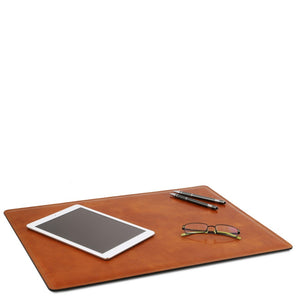In Use View Of The Honey Leather Desk Pad