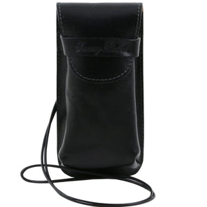 Front View Of The Black Large Eyeglasses Phone Holder Case-Shoulder Strap