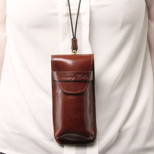 Strap View Of The Brown Large Eyeglasses Phone Holder Case-Shoulder Strap