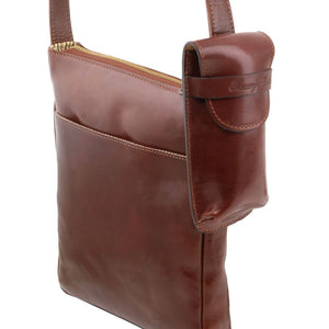 Attachment Versatility To Shoulder Bag View Of The Brown Large Eyeglasses Phone Holder Case-Shoulder Strap