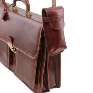 Attachment To Briefcase View Of The Brown Large Eyeglasses Phone Holder Case-Shoulder Strap