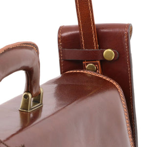 Close Up Of Attachment To Briefcase View Of The Brown Large Eyeglasses Phone Holder Case-Shoulder Strap