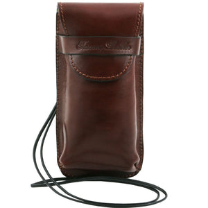 Front View Of The Brown Large Eyeglasses Phone Holder Case-Shoulder Strap
