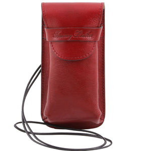 Front View Of The Red Large Eyeglasses Phone Holder Case-Shoulder Strap