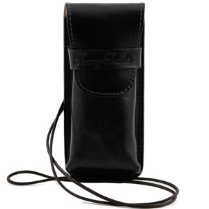 Front View Of The Black Leather Eyeglasses Case Smart Phone Holder