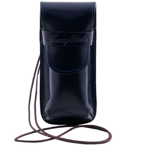 Front View Of The Blue Leather Eyeglasses Case Smart Phone Holder