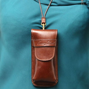 Leather Strap Attachment View Of The Brown Leather Eyeglasses Case Smart Phone Holder