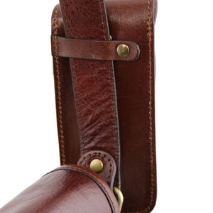 Rear View Of The Brown Leather Eyeglasses Case Smart Phone Holder