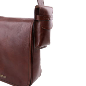 Close up Side Bag Feature Attachment View Of The Brown Leather Eyeglasses Case Smart Phone Holder