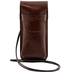 Front View Of The Brown Leather Eyeglasses Case Smart Phone Holder