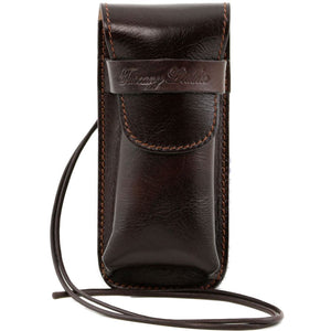 Front View Of The Dark Brown Leather Eyeglasses Case Smart Phone Holder
