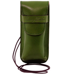 Front View Of The Green Leather Eyeglasses Case Smart Phone Holder