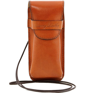 Front View Of The Honey Leather Eyeglasses Case Smart Phone Holder