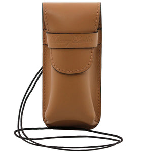 Front View Of The Light Taupe Leather Eyeglasses Case Smart Phone Holder