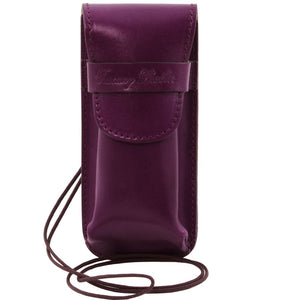 Front View Of The Purple Leather Eyeglasses Case Smart Phone Holder