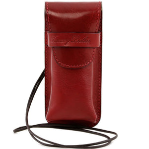 Front View Of The Red Leather Eyeglasses Case Smart Phone Holder