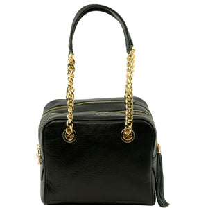 Front View Of The Black Neo Classic Leather Handbag - Chain and Leather Handles -Tassels
