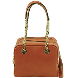 Front View Of The Cognac Neo Classic Leather Handbag - Chain and Leather Handles -Tassels