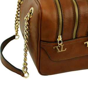 Side View Of The Dark Taupe Neo Classic Leather Handbag - Chain and Leather Handles -Tassels