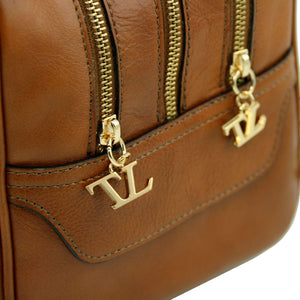 Side Zippers View Of The Dark Taupe Neo Classic Leather Handbag - Chain and Leather Handles -Tassels