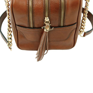 Top Angled Zippers View Of The Dark Taupe Neo Classic Leather Handbag - Chain and Leather Handles -Tassels