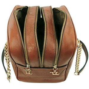 Top Angled Compartment View Of The Dark Taupe Neo Classic Leather Handbag - Chain and Leather Handles -Tassels