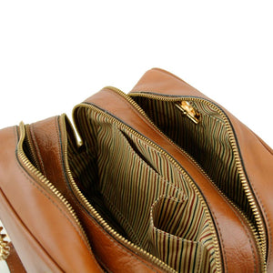 Internal Pockets View Of The Dark Taupe Neo Classic Leather Handbag - Chain and Leather Handles -Tassels